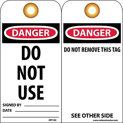 Accident Prevention Tags, Do Not Use, 6X3, Unrip Vinyl, 25/Pk W/ Grommet