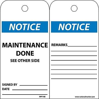 Accident Prevention Tags, Notice Maintenance Done, 6X3, Unrip Vinyl, 25/Pk