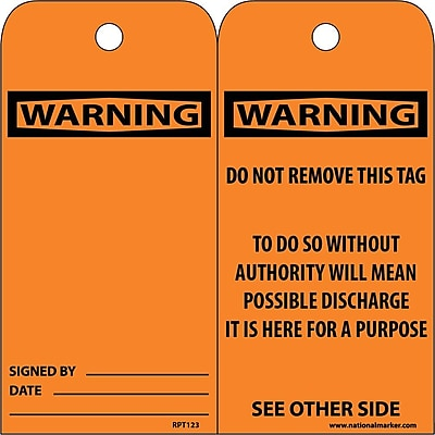 Accident Prevention Tags, Warning Header, 6X3, .015 Mil Unrip Vinyl, 25 Pk