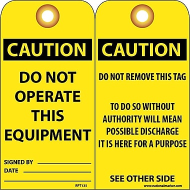 Accident Prevention Tags, Do Not Operate This Equipment, 6