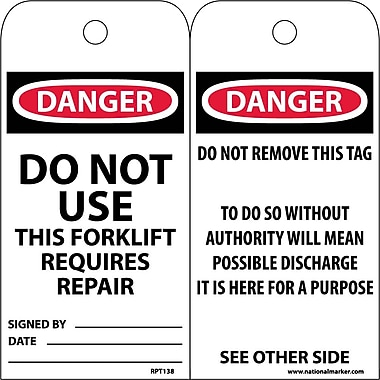 Accident Prevention Tags, Do Not Use This Forklift Requires Repair, 6