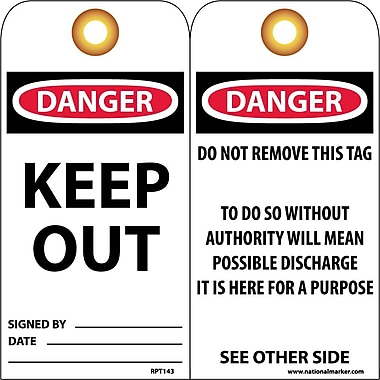 Accident Prevention Tags, Keep Out, 6