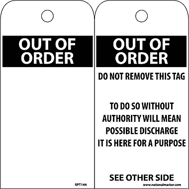 Accident Prevention Tags, Out Of Order, Blank, 6X3, .015 Mil Unrip Vinyl, 25 Pk