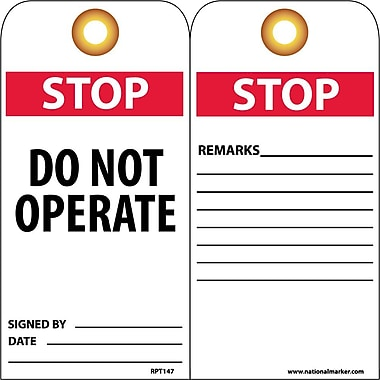 Accident Prevention Tags, Stop Do Not Operate, 6