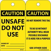 Accident Prevention Tags Unsafe Do Not Use 6X3 .015 Mil Unrip Vinyl 25 Pack