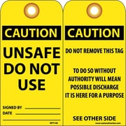 Accident Prevention Tags Unsafe Do Not Use 6X3 .015 Mil Unrip, Vinyl 25 Pk W/ Grommet