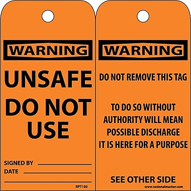 Accident Prevention Tags Unsafe Do Not Use 6X3 .015 Mil Unrip Vinyl 25 Pk