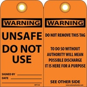 Accident Prevention Tags Unsafe Do Not Use 6X3 .015 Mil Unrip Vinyl 25 Pk W/ Grommet