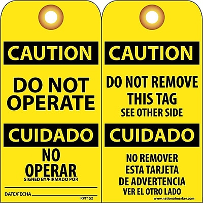 Accident Prevention Tags, Do Not Operate Bilingual, 6X3, .015 Mil Unrip Vinyl, 25 Pk W/ Grommet