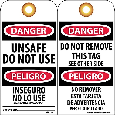 Accident Prevention Tags, Unsafe Do Not Use Bilingual, 6X3, .015 Mil Unrip Vinyl, 25 Pk W/ Grommet