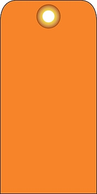 Accident Prevention Tags, Orange Blank, 6X3, .015 Mil Unrip Vinyl, 25 Pk W/ Grommet