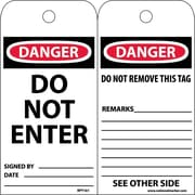 Accident Prevention Tags, Do Not Enter, 6X3 Unrip Vinyl, 25/Pk