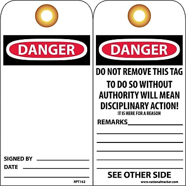 Accident Prevention Tags Danger 6X3 Unrip Vinyl, 25/Pk W/ Grommet