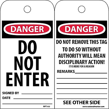 Accident Prevention Tags, Danger, Do Not Enter, 6X3, Unrip Vinyl, 25/Pk