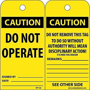 Accident Prevention Tags, Caution, Do Not Operate, 6