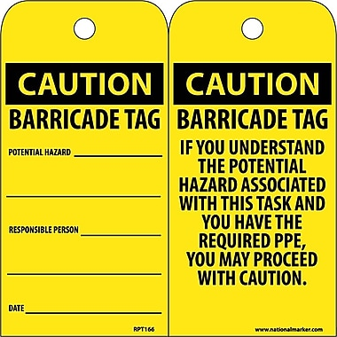 Accident Prevention Tags, Caution Barricade Tag, 6X3, Unrip Vinyl, 25/Pk