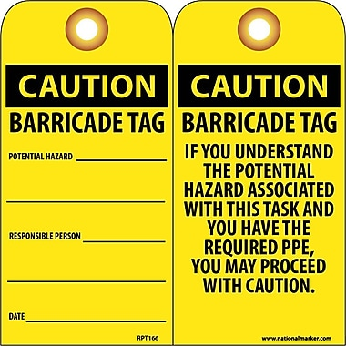 Accident Prevention Tags, Caution Barricade Tag, 6X3, Unrip Vinyl, 25/Pk W/ Grommet