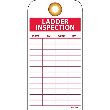 Accident Prevention Tags, Ladder Inspection, 6X3, Unrip Vinyl, 25/Pk **Red On White** W/ Grommet