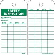 Accident Prevention Tags, Safety Inspection Record, 6X3 1/4, Unrip Vinyl, 25/Pk