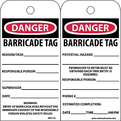Accident Prevention Tags, Danger Barricade Tag, 6X3, Unrip Vinyl, 25/Pk