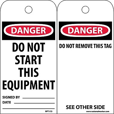 Accident Prevention Tags, Danger, Do Not Start This Equipment, 6