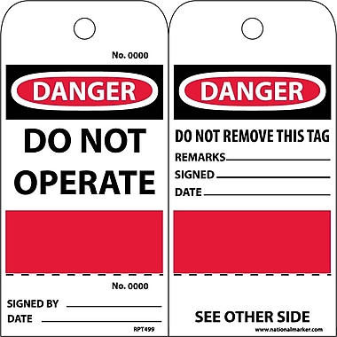 Accident Prevention Tags, Danger Do Not Operate, Grommet, Perforated/Sequential Number, 6