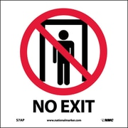 No Exit, 4X4, Adhesive Vinyl, Labels sold in 5/Pk