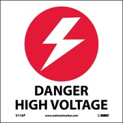 Danger High Voltage, 4X4, Adhesive Vinyl, Labels sold in 5/Pk