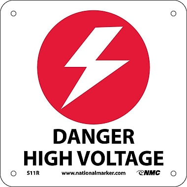 Danger High Voltage (W/ Graphic), 7X7, Rigid Plastic