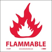 Flammable, 4X4, Adhesive Vinyl, Labels sold in 5/Pk