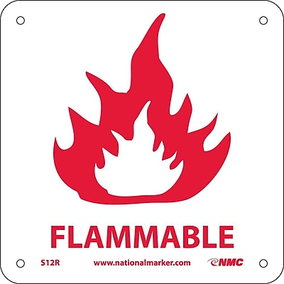 Flammable (W/ Graphic), 7X7, Rigid Plastic