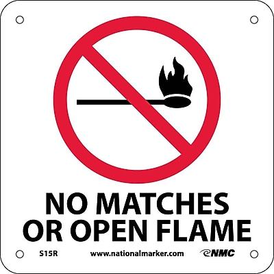 No Matches Open Flame (W/ Graphic), 7X7, Rigid Plastic