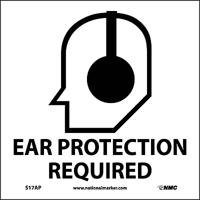 Ear Protection Required (Graphic), 4X4, Adhesive Vinyl, Labels sold in 5/Pk