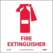 "Fire Extinguisher Graphic, 4"" x 4"", Adhesive Vinyl, 5 Labels/Pack"
