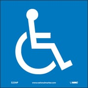 "Handicapped Symbol, 4"" x 4"", Adhesive Vinyl, 5 Labels/Pack"