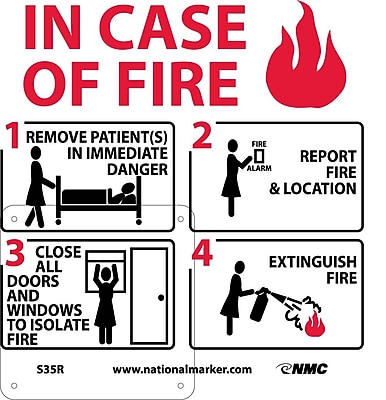 In Case Of Fire Instructions For Hospital (W/ Graphic), 7X7, Rigid Plastic