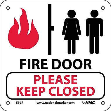 Fire Door Please Keep Closed (W/ Graphic), 7X7, Rigid Plastic