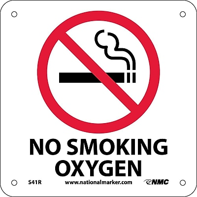 No Smoking Oxygen (W/ Graphic), 7X7, Rigid Plastic