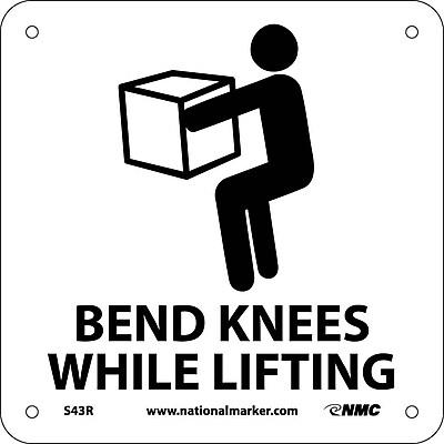 Bend Knees While Lifting (W/ Graphic), 7X7, Rigid Plastic