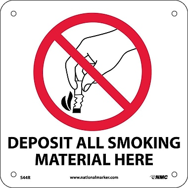 Deposit Smoking Materials Here (W/ Graphic), 7X7, Rigid Plastic