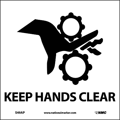 Keep Hands Clear (Graphic), 4X4, Adhesive Vinyl, Labels sold in 5/Pk