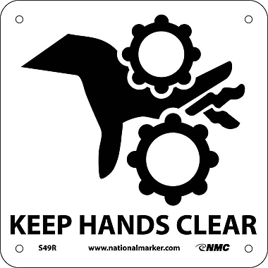 Keep Hands Clear (W/ Graphic), 7X7, Rigid Plastic