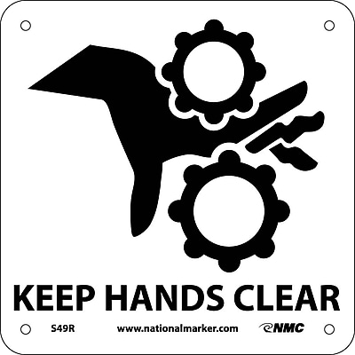 Keep Hands Clear (W/ Graphic), 7X7, Rigid Plastic