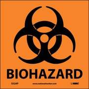 "Biohazard Graphic, 4"" x 4"", Adhesive Vinyl, 5 Labels/Pack"