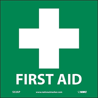First Aid (Graphic), 4X4, Adhesive Vinyl, Labels sold in 5/Pk