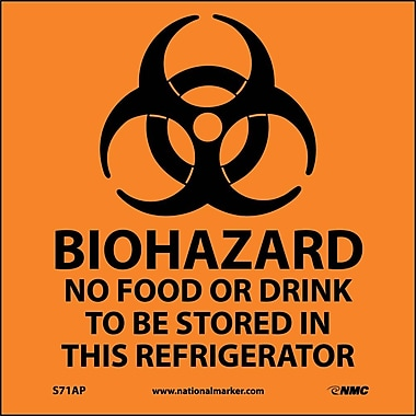 Biohazard No Food Or Drink . . .(Graphic), 4X4, Adhesive Vinyl, Labels sold in 5/Pk