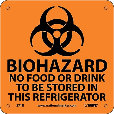 Biohazard No Food Or Drink To Be Stored (W/ Graphic), 7X7, Rigid Plastic