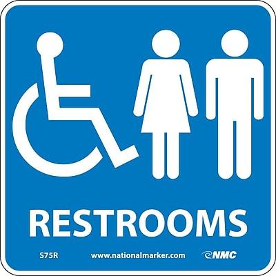 Restrooms (W/ Graphic), 7X7, Rigid Plastic