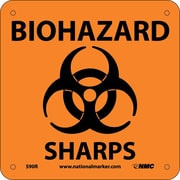 Biohazard Sharps (W/ Graphic), 7X7, Rigid Plastic