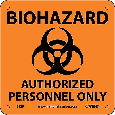 Biohazard Authorized Personnel Only (W/ Graphic), 7X7, Rigid Plastic